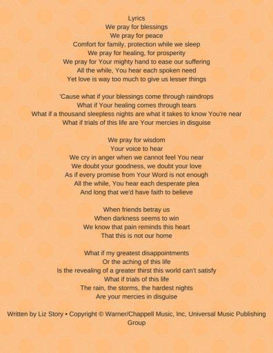 Tekst van het lied Blessings